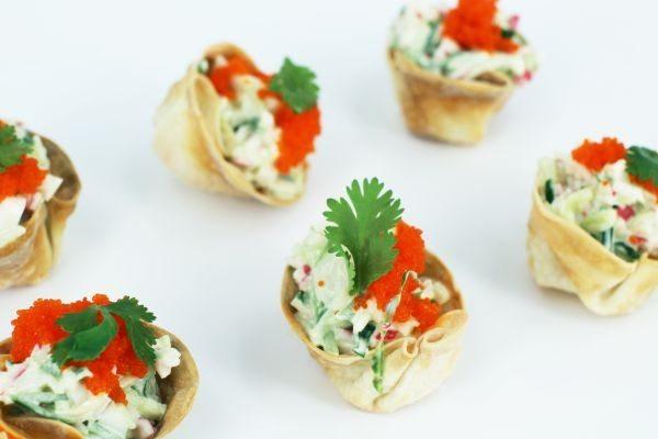 Recept gyozabakjes met surimisalade